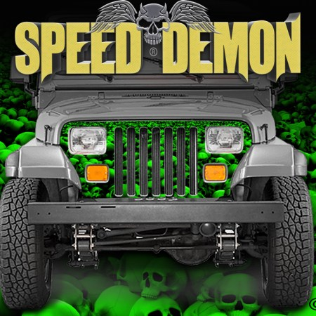 Jeep Grill Wraps Skulls Green