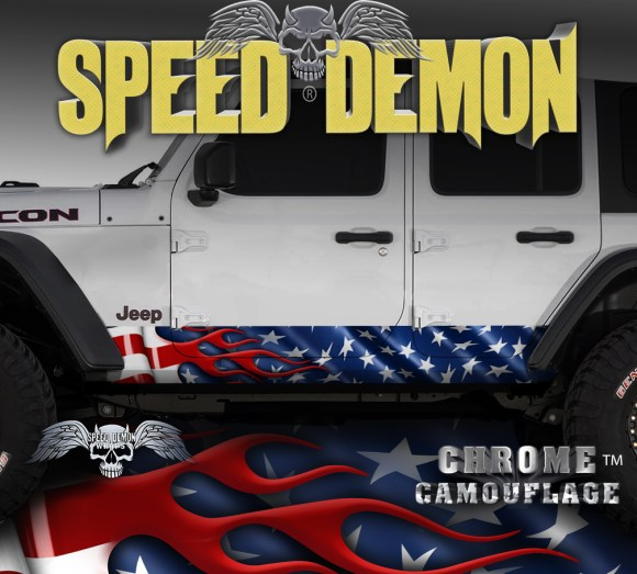 Jeep Wrangler Rocker Wraps American Flag JK