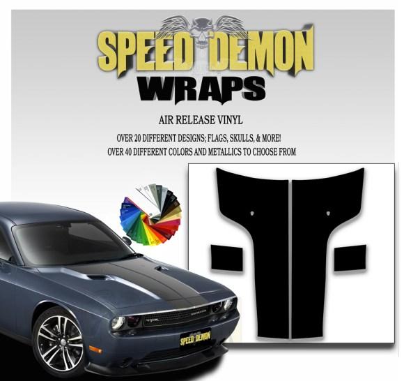 Dodge Challenger 2011 - 2014 Hood Blackout T Stripe Decal