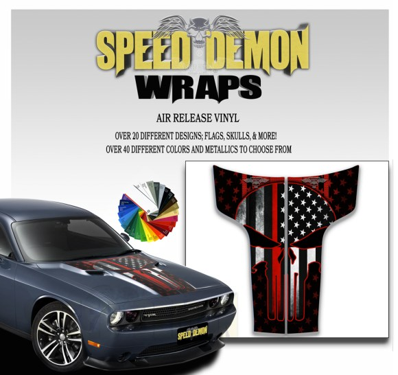 Dodge Challenger Hood Punisher Stripes Decal 2011-2014 American Flag Red Line