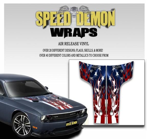 Dodge Challenger Hood Stripes Decal American Flag Flames 2011-2014