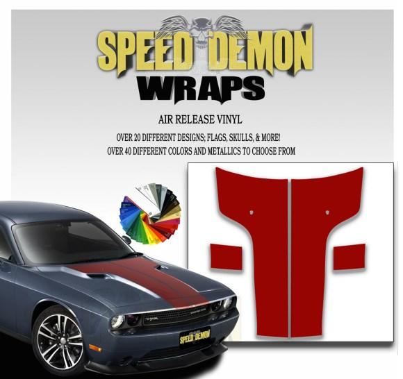Dodge Challenger Hood Stripes Red