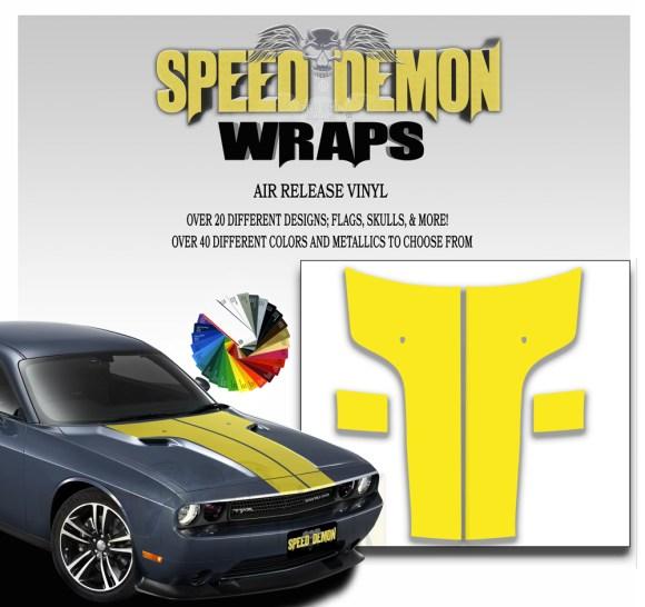 Dodge Challenger Hood Stripes Yellow