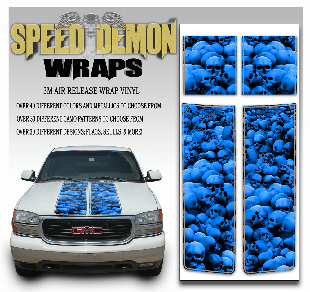 GMC Sierra Stripes Skulls Blue 2000-2006