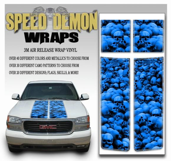 GMC Sierra Stripes Skulls Blue 2000-2006
