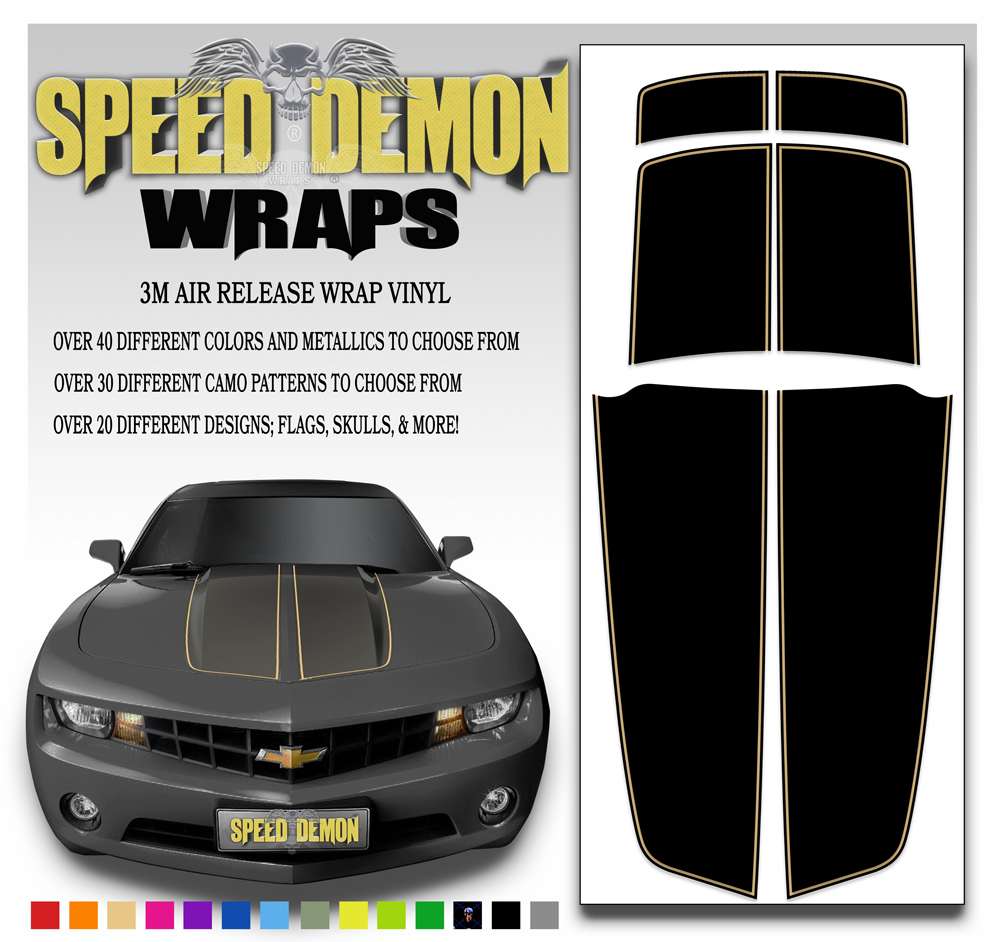 Black Camaro Stripe Kit With Tan Pin Stripe 2010-2015