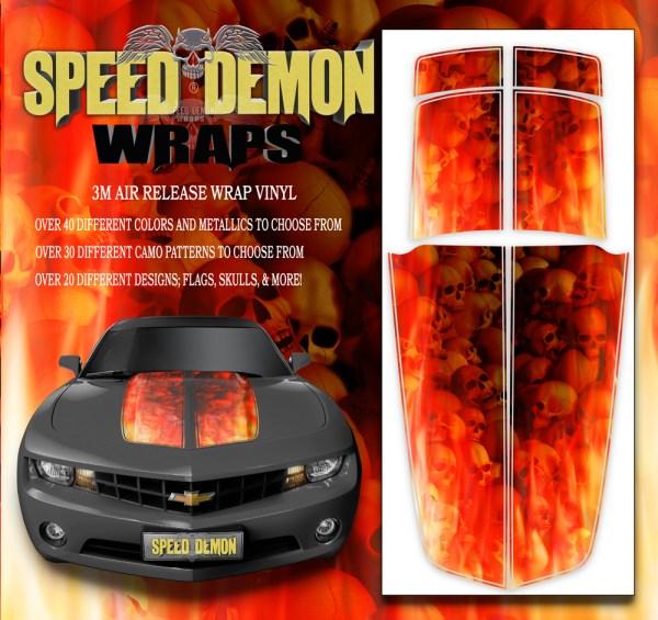 Camaro Stripes Flaming Red Skulls 2010-2011-2012-2013-2014-2015