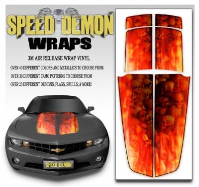 Camaro Stripes Flaming Red Skulls With Black Pin Stripe 2010-2011-2012-2013-2014-2015