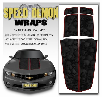 Camaro Stripes Heavily Ghosted Skulls With Red Pin Stripe 2010-2011-2012-2013-2014-2015
