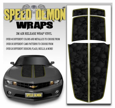 Camaro Stripes Heavily Ghosted Skulls With Yellow Pin Stripe 2010-2011-2012-2013-2014-2015