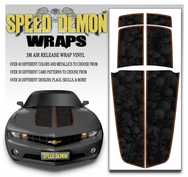 Camaro Stripes Heavily Ghosted Skulls With Orange Pin Stripe 2010-2011-2012-2013-2014-2015