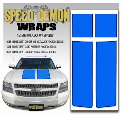 Chevrolet Avalanche Stripes Blue with Black Pinstripe 2007-2013
