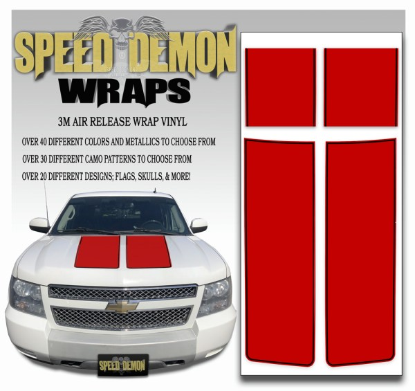 Chevrolet Avalanche Stripes Red with Black Pinstripe 2007-2008-2009-2010-2011-2012-2013