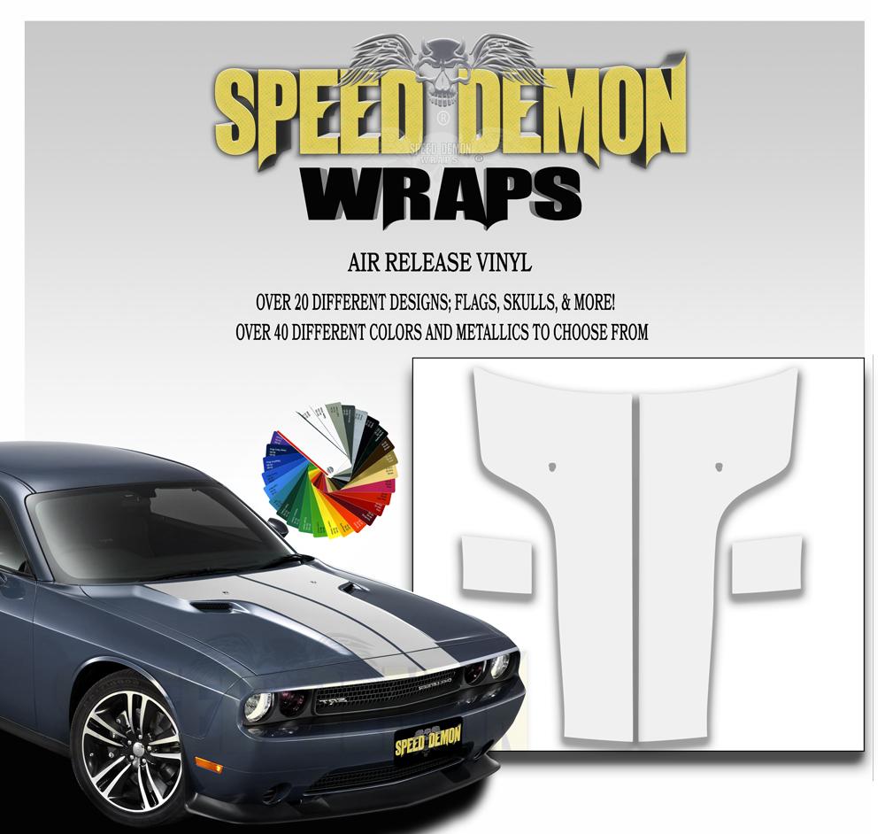 Dodge Challenger Hood T Stripe Decal White 2011-2012-2013-2014