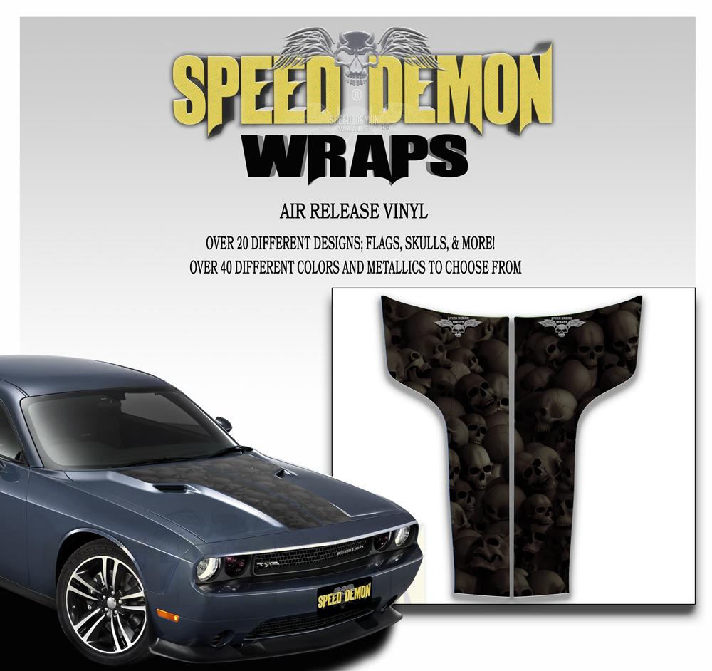 Dodge Challenger Stripes Decal Skulls Black Ghosted 2011-2012-2013-2014