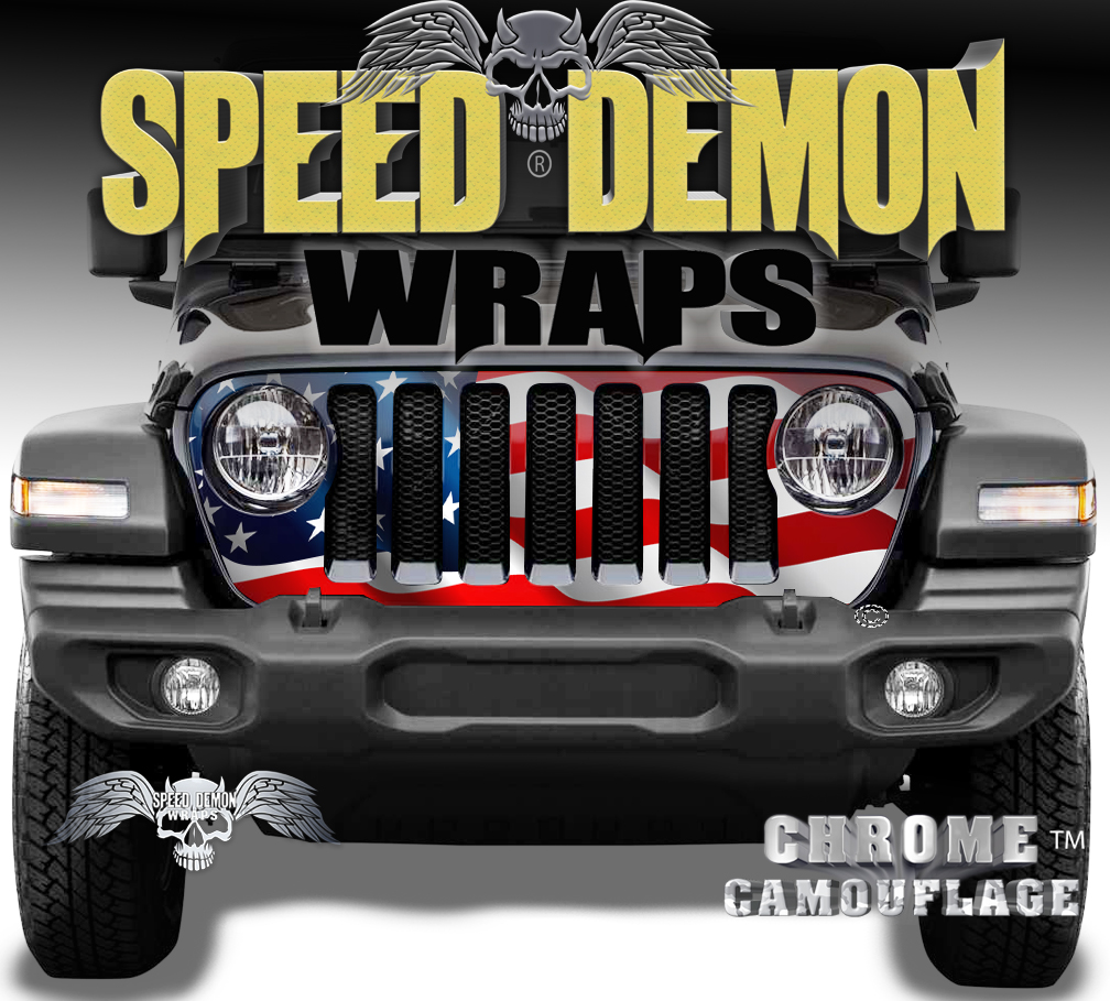 Jeep Wrangler Grill Wrap Waving American Flag 2018-2019-2020 JL V3