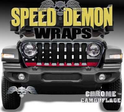 Jeep Wrangler Grill Wraps American Flag 2018-2019-2020 JL Red Line