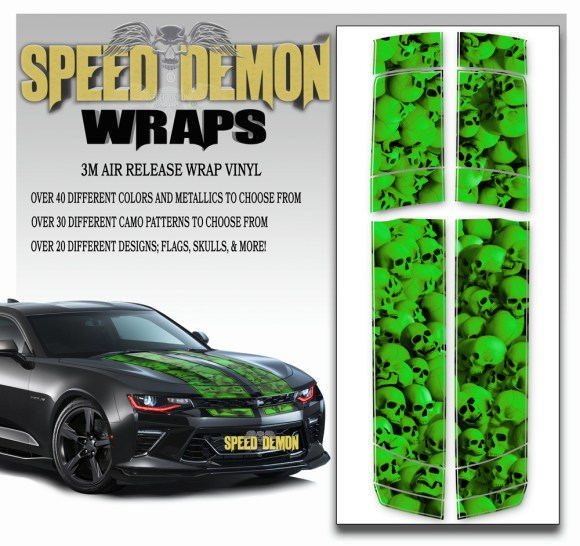 Skulls V6 Camaro-Stripes-Green 2016-2017-2018