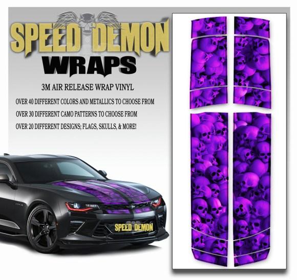 Skulls Skull Stripper V6 Camaro Stripes Purplish w BLK PS-2016-2017-2018