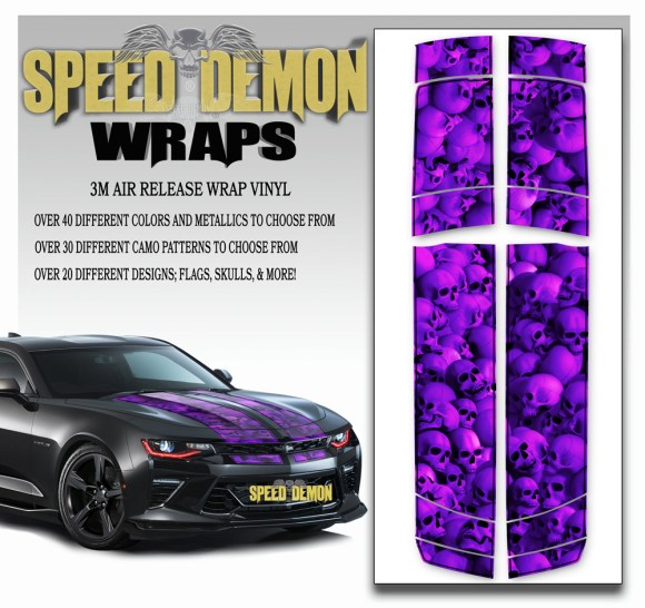 Skulls Skull Stripper V6 Camaro Stripes Purplish w BLK PS-2016-2017-2018