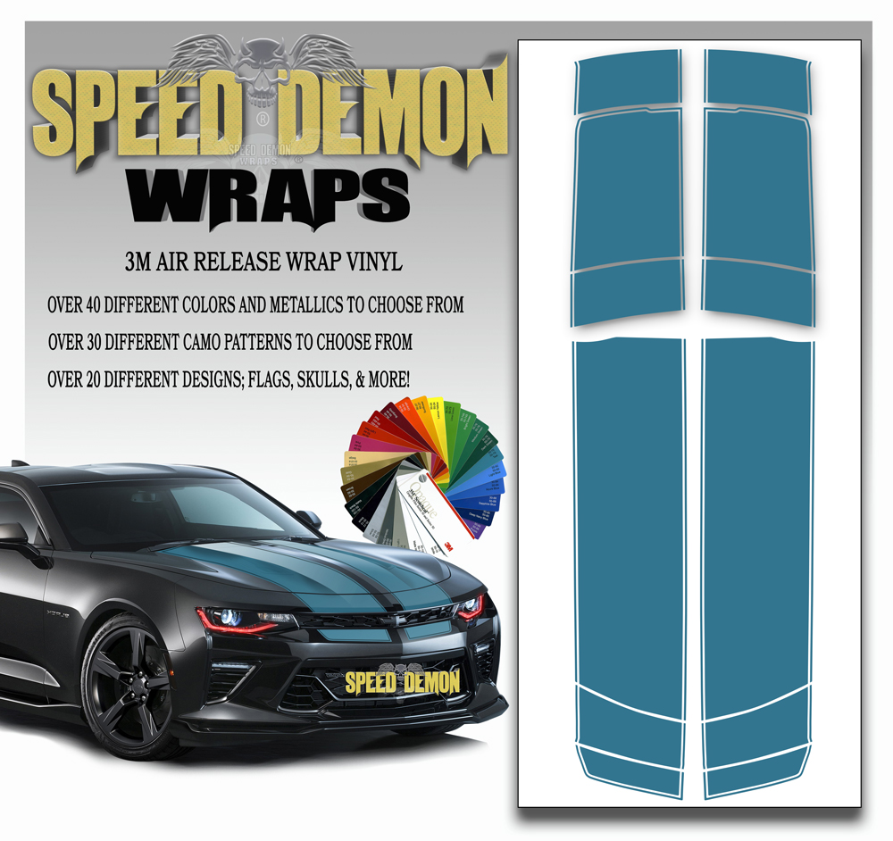 V6 Camaro Stripes Teal 2016-2017-2018