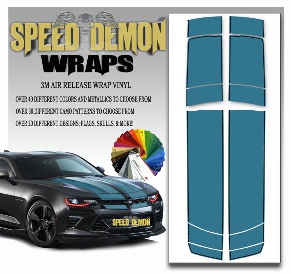 V6 Camaro Stripes Teal 2016-2017-2018 BLKPS