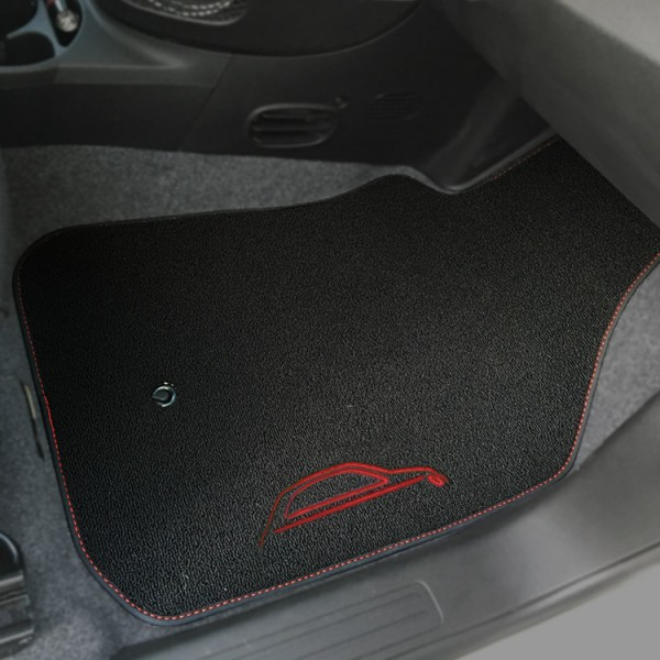 FIAT 500 Floor Mats by 500|SPEEDLAB Black with Red Logo Passenger