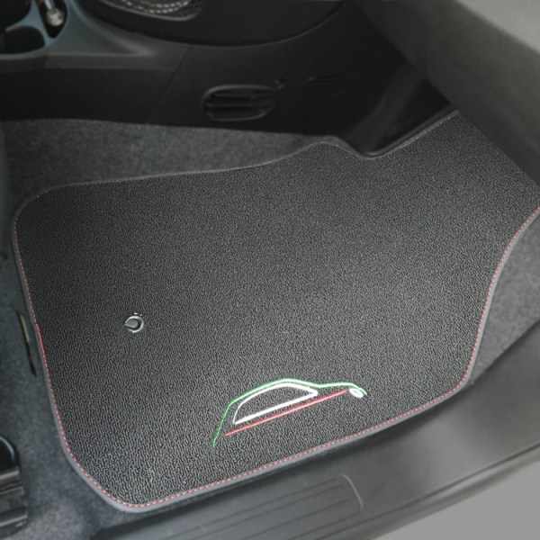 FIAT 500 Floor Mats by 500|SPEEDLAB Grey with Italia Logo Passenger