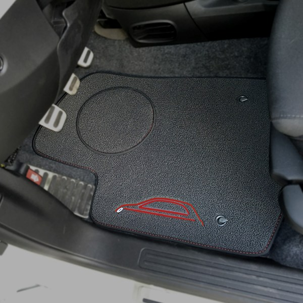 FIAT 500 Floor Mats by 500|SPEEDLAB Grey with Red Logo Driver