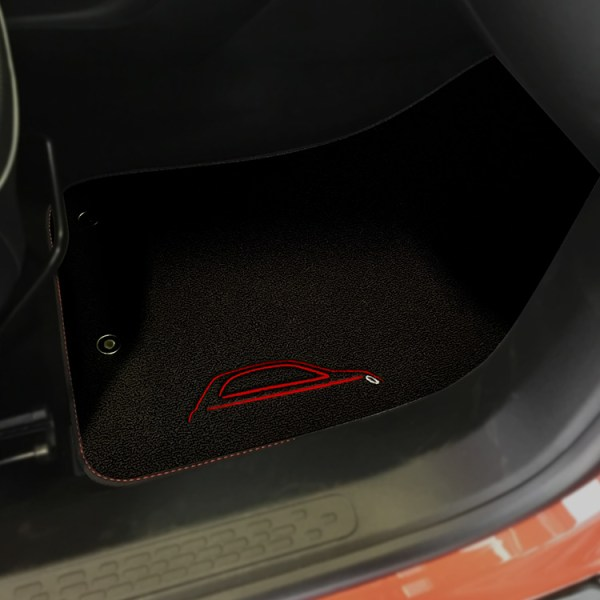 FIAT 500X Floor Mats by 500|SPEEDLAB Black with Red Logo Passenger