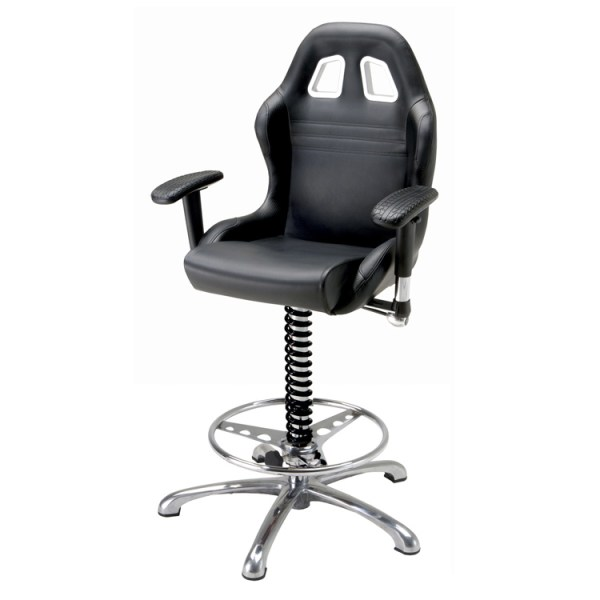 500|SPEEDLAB PitStop Crew Chief Bar Chair Black BC600B