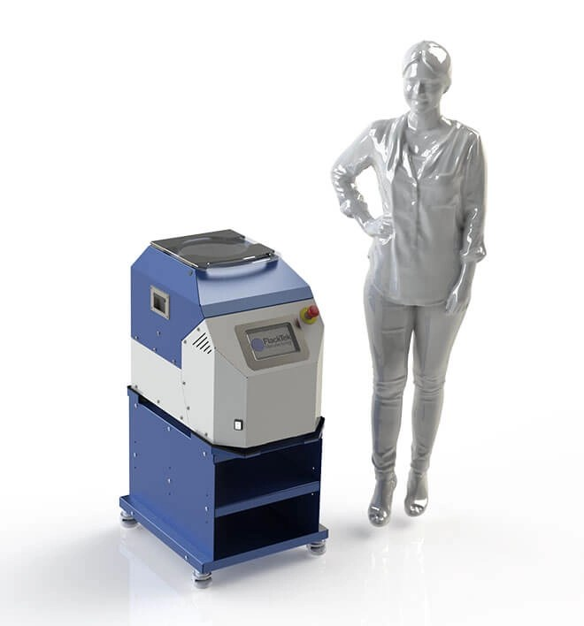 Medium size SpeedMixer with rendering of person for scale