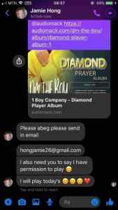 Jamaican Radio hostess weeks permission to play songs from DM the Boy's maiden Diamond Prayer dancehall Album.