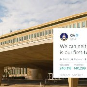 CIA Tweet and Langley headquarters