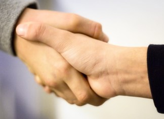 Social enterprise business handshake