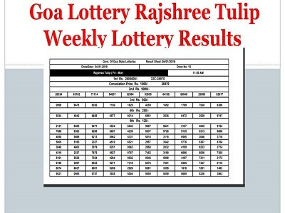 Goa Lottery Rajshree Mars Weekly Results 06-09-2019 Released