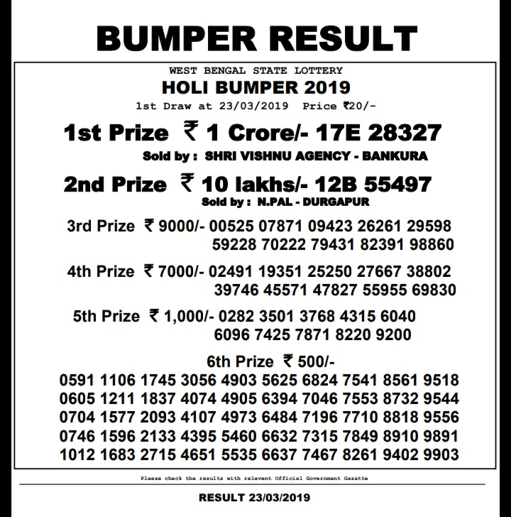 04-07-2019 West Bengal Dear Rath Yatra Bumper Lottery Results