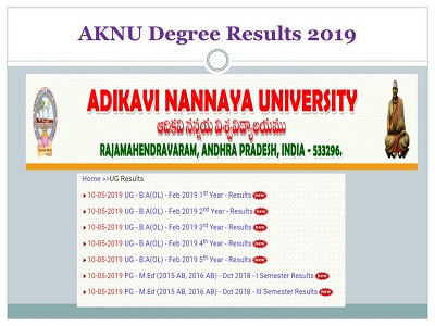 AKNU Degree Results 2019-(Declared)1st 2nd 4th 6th Sem Adikavi
