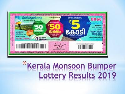 Kerala Monsoon Bumper Lottery Result 18-07-2019 (BR-68