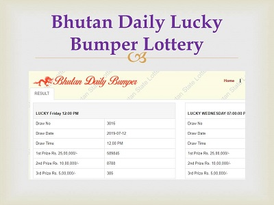 Bhutan Lucky Daily Bumper Lottery Result 2019 Today|12 PM & 7 PM