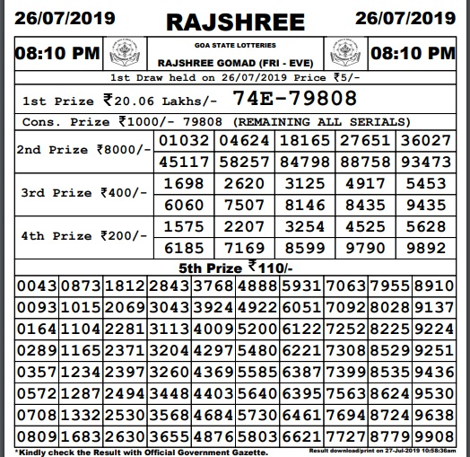 Goa Lottery Rajshree Gomad Results 06/09/2019 (8 PM)|Goa