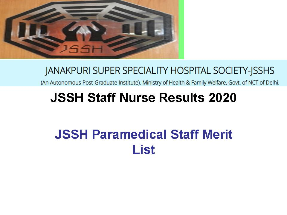 JSSH Staff Nurse Results 2020 @jsshs.org nursing officer ...