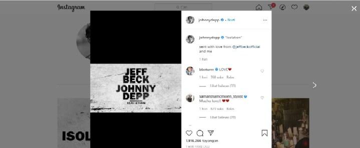 Unggahan Johnny Depp ke Akun Instagram yang baru ia bikin. Ia dan Jeff Beck meng-cover lagu Isolation-nya John Lennon.