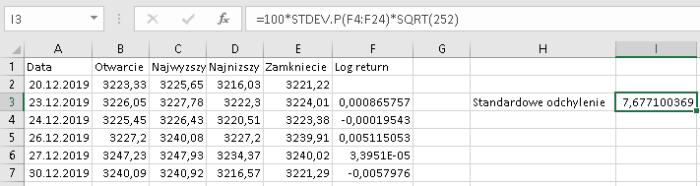 stdevp spx Zmienność zrealizowana   kalkulacja