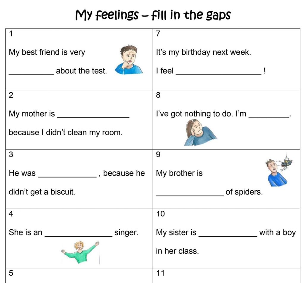 Worksheets My Feelings