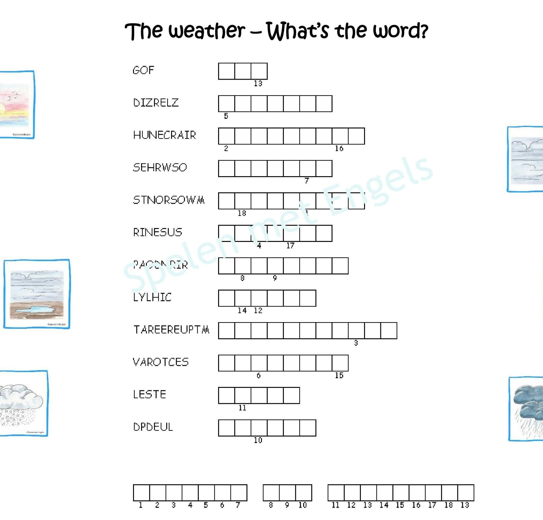 Worksheets The Weather Bovenbouw