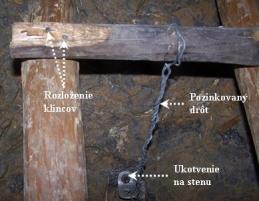 Obr. 5. Detail ukotvenia rebríka pozinkovaným drôtom. Foto: M. Jagerčík