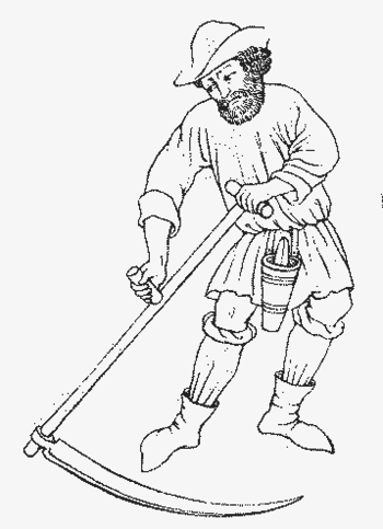 Man using a scythe