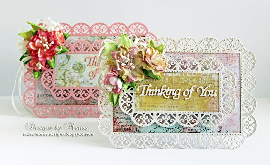 Thinking of You Card by Marisa Job for Spellbinders using S6-135 Thinking of You Scalloped Rectangle S5-317 Textured Flowers dies #cardmaking #neverstopmaking #diecutting #handmadecard #spellbinders