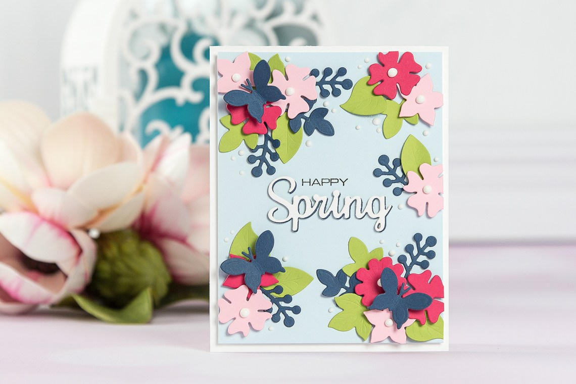 Cardmaking Inspiration | Happy Spring Card by Yana Smakula for Spellbinders using Four Seasons collection by Lene Lok Using S3-308 Seasonal Words, S5-338 Wreath Elements #spellbinders #neverstopmaking #diecutting #cardmaking #handmadecard